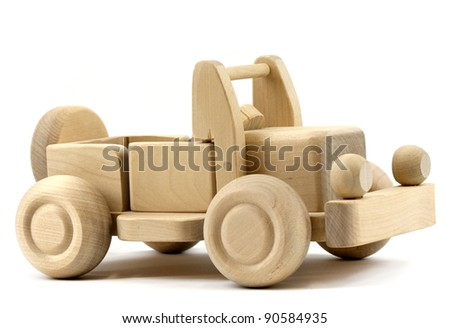 Retro toy car isolated on white background