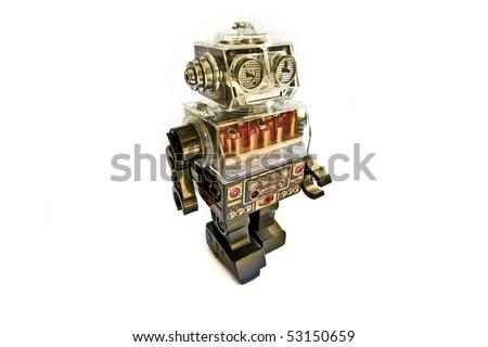 Retro Toy Robot on White Background