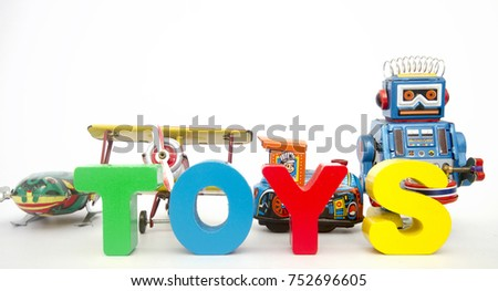 retro toys and the word TOYS