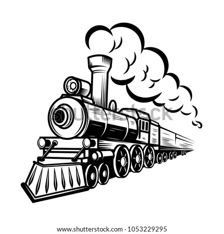 Retro train illustration isolated on white background. Design element for logo, label, emblem, sign. illustration