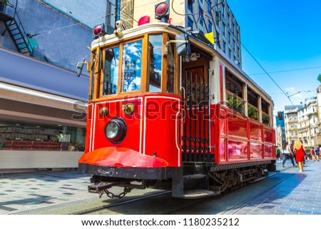 Retro tram on Taksim Istiklal Street  in Istanbul, Turkey in a summer day