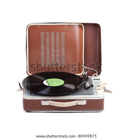 Retro Turntable on White Background