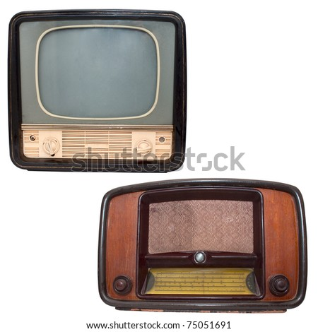 Retro TV and radio on a white background