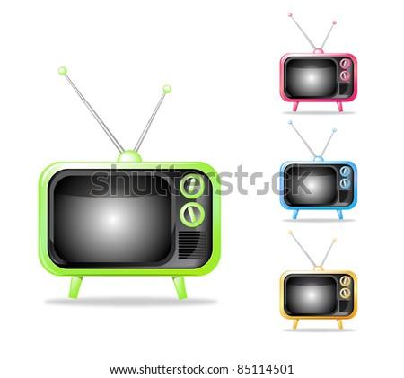 Retro TV  illustration multi colors set - stock photo