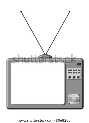 Retro TV is a illustration of grey TV set isolated.
