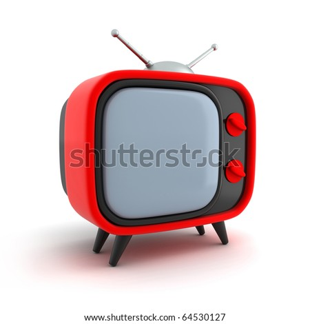 Retro TV, red (done in 3d, isolated)