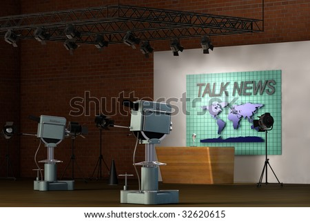 Retro TV studio set for a news broadcast
