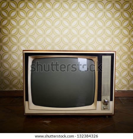 stock photo retro tv with wooden case in room with vintage wallpaper and parquet 132384326 - Каталог — Фотообои «Ретро»