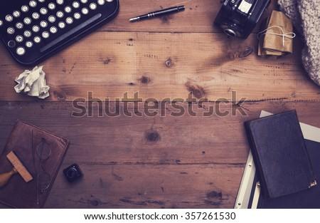 retro typewriter desk hero...