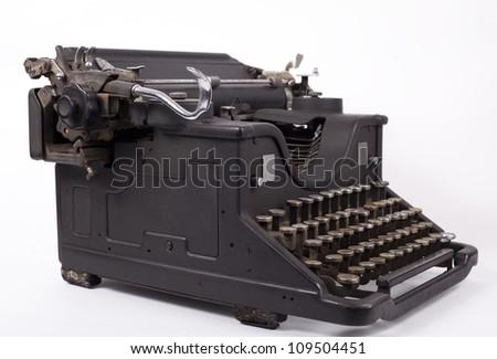 Retro typewriter on a white background