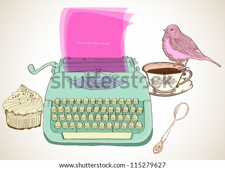 retro typewriter, vintage hand drawn background for Valentine design