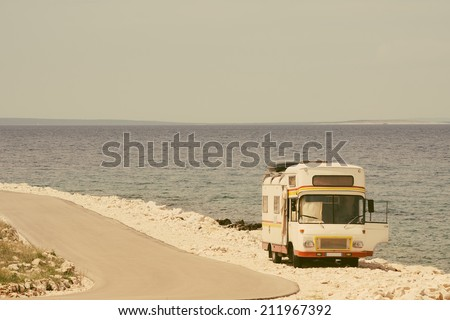 retro van by the sea on the old ...