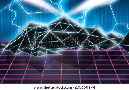 Retro Video game art. Classic neon box art, arcade light art of a mountain and the flat lands of the foreground.