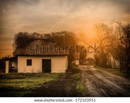 Retro Village Scene