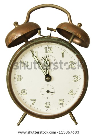 Retro vintage alarm clock isolated on white background. Clipping path included