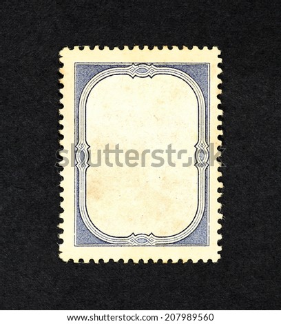 Retro vintage blue ornate border in the frame of an old postage stamp, with blank space for text. #207989560