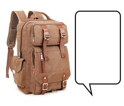 Retro Vintage Canvas Backpack Isolated on White. Satchel Rucksack with Zippered Compartment. Brown Duffel or Duffle Bag with Shoulder Straps and Haul Loop at the Top. Travel Camping Daypack Front View