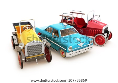 Retro vintage collection of toy cars on a white background.