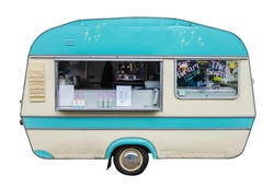 Retro Vintage Food Truck (Caravan) For Coffee Ice Cream And Snacks