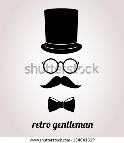 Retro, vintage gentleman accessories isolated on bright background.