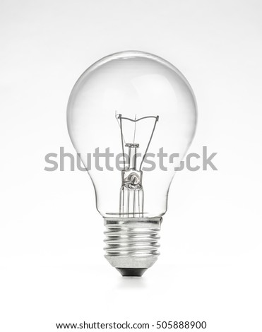 retro vintage light bulb with on white background, energy saving concept #505888900