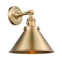 Retro Vintage 1 Light Dimmable Armed Wall Sconce Isolated. Chandelier Lighting. Electric Light Fixture with Brushed Brass Cone Shade 60 Watt Incandescent E26 Bulb. Interior Electrical Decoration Light