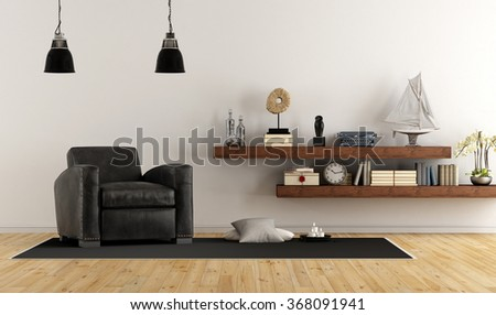 Retro vintage living room with leather armchair and wooden shelves with books and decor objects - 3D Rendering