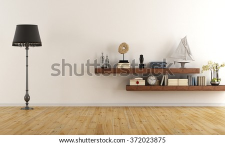 Retro vintage living room with  wooden shelves with books and decor objects - 3D Rendering