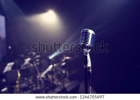 retro vintage microphone at a live show #1266705697