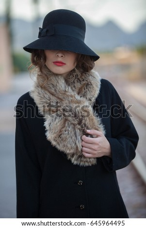 retro vintage mysterious woman