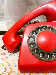 Retro vintage old red phone