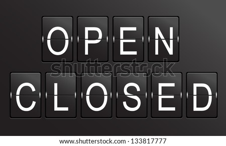Retro, vintage, panel OPEN, CLOSED sign on black background.