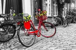 Retro vintage red bicycle on cobblestone street in the old town. Black And White Toned. Ribbe, Denmark