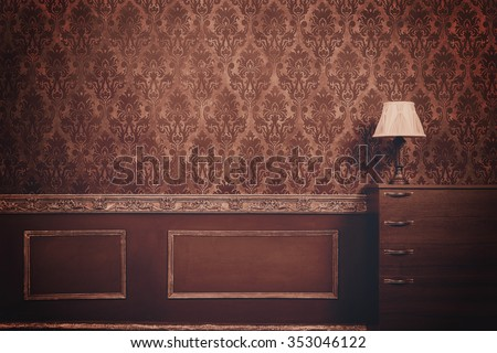 Retro vintage room with pattern in rococo style. Interior wallpaper. Rich  Classic royal old home. Imagine de stoc ©
