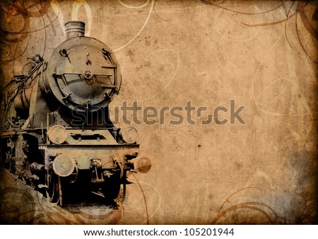 retro vintage technology, old train, grunge background illustration