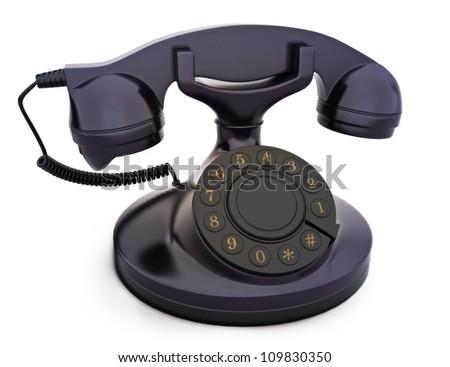 Retro vintage telephone on a white background