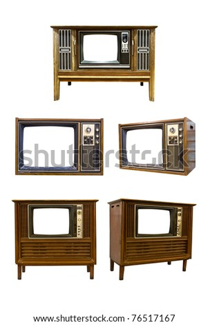 Retro Vintage television  on a white background