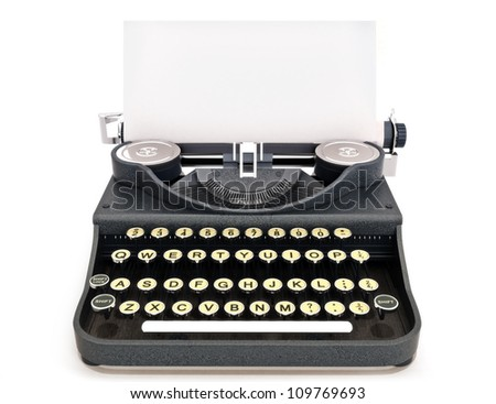 Retro vintage typewriter front view with paper, room for text or copy space on a white background.