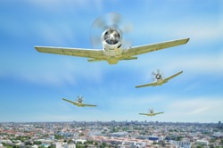 Retro vintage warplanes fly with on city.
