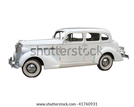 retro vintage white dream wedding car isolated over white background - stock photo