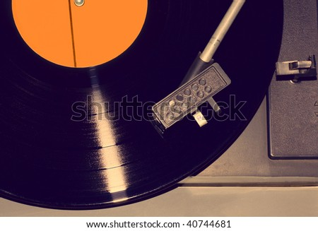 Retro vinyl player - stock photo