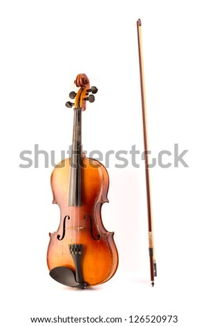 retro violin vintage isolated on white background
