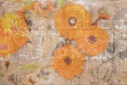 Retro wallpaper with orange chrysanthemums