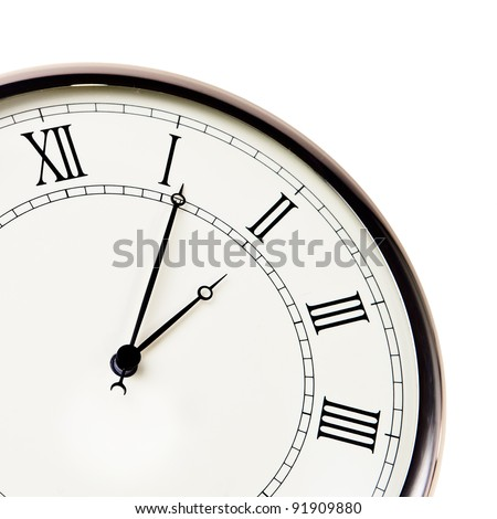 Retro watch with roman digits closeup isolated over white background.