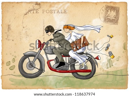 Retro wedding illustration. Just married. Groom and bride on the motorcycle ,