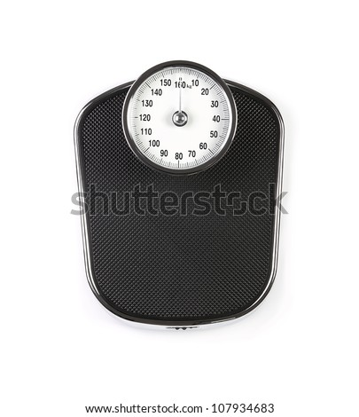 Retro weight scale isolated on white background