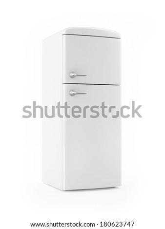 Retro White Refrigerator on White background Stock photo ©