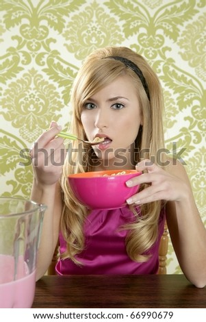 Retro woman breakfast eating corn flakes wallpaper background