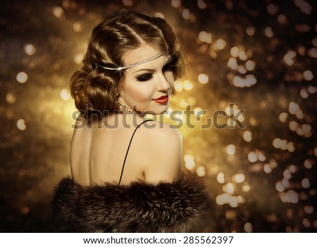 Retro Woman Hairstyle Portrait and Makeup, Fashion Model with Curly Hair Style, Girl Back view Looking over Shoulder