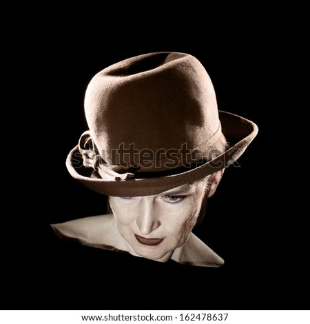 Retro woman in hat vintage portrait. Elegant style senior lady 60 years old